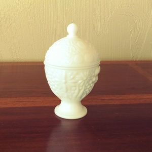 Vintage 1960 Avon Milk Glass Egg Shaped Footed Jar